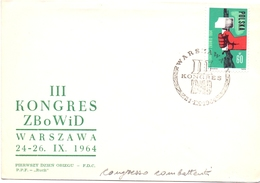 POLAND WARSSAWA  III KONGRES ZB O WID 1964 COVER FDC  (OTT180029) - FDC