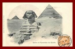 Sphinx Et Pyramides De Guiséh     (scan Recto Et Verso ) - Gizeh