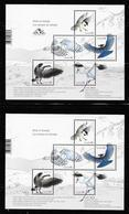 Canada  2018, Set Of 2 SS, Birds Whooping Crane, Steller's Jay, Snowy Owl, Black-capped Chickadee, Canada Goose - Blocs-feuillets