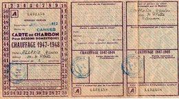 VP13.108 - Mairie De CANNES 1947 / 1948 - Service Du Rationnement - Carte De Charbon - Non Classés