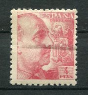 9080  ESPAGNE  N°689 *  4Ptas Rose Carminé  Général Francisco Franco   1940-45    B/TB - 1931-50 Neufs