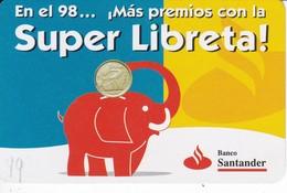 CALENDARIO DEL BANCO DE SANTANDER DE UN ELEFANTE DEL AÑO 1998 (CALENDRIER-CALENDAR) ELEPHANT - Tamaño Pequeño : 1991-00
