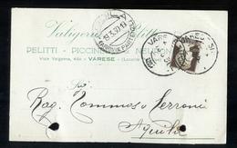 CARTOLINA COMMERCIALE - VARESE - 1930 - VALIGERIA PELITTI - FORI D'ARCHIVIO - Negozi