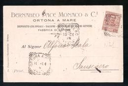 CARTOLINA COMMERCIALE - ORTONA A MARE - CHIETI - 1904 - BERNABEO SALUMI COLONIALI (1) - Negozi