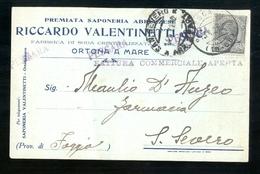 CARTOLINA COMMERCIALE - ORTONA A MARE - CHIETI - 1921 - SAPONERIA VALENTINETTI - FATTURA CON MARCA DA BOLLO - Magasins