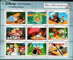 72551) Grenada Disney Alice/CAT/MOTH/Cane Sht -MNH**disney - Grenada (1974-...)