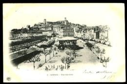 CANNES - 3 : Vue Générale (kiosque à Musique) - CP Précurseur, Vers 1900, Dos Non Divisé. - Cannes