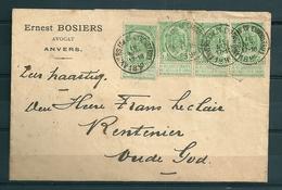 Nr 56 (4x) Op Brief Van Anvers (Avenue De L'industrie) Naar Oude God (Vieux Dieu) - 16 Nov 1898 - 1893-1907 Coat Of Arms