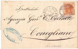 Piego Milano -> Conegliano  Annullo A Barre Viaggiato 1978 - 1878-00 Umberto I