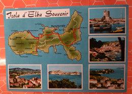 ISOLA D'ELBA ITALIA MAP CARTOLINA 1969 - Carte Geografiche