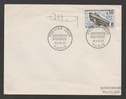 France (FDC) 1er Jour  BATHYSCAPHE ARCHIMEDE  26 Janvier 1963 /  N°  YT 1368 / First Day  Signé Artiste - FDC