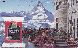 Télécarte Japon / 110-011 - SUISSE MATTERHORN  & Terrasse / Coca Cola ? - Japan Phonecard Switzerland Schweiz - Site 62 - Montagnes