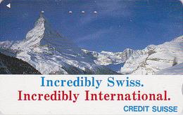 Télécarte Japon / 110-011 - MATTERHORN / CREDIT SUISSE Banque Bank  Japan Phonecard Switzerland Schweiz - Site 63 - Montagnes
