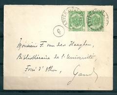 Nr 56 (2x) Op Brief Van Anvers (Palais) Naar Gand - 21 Sept 1896 - 1893-1907 Coat Of Arms