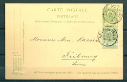 Nr 56 (2x) Op Postkaart Van Anvers (Sud) Naar Fribourg (Suisse) - 06 Sept 1905 - 1893-1907 Coat Of Arms