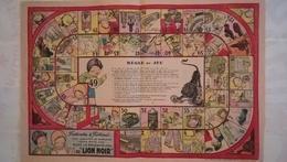 JEU DE L'OIE DE 1930 EN PAPIER SOUPLE - FROTTINETTE ET FROTTINET - PRODUITS LION NOIR - Publicités