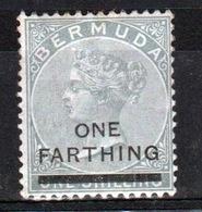 Bermuda 1901 Queen Victoria  Single Stamp With Overprint Of ¼d On 1/- Dull Grey - Bermuda