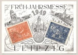 Deutsches Reich / Sowjet Zone - 1949 - Leipziger Messe Set On 1st Day Postcard To Texas / USA - Soviet Zone