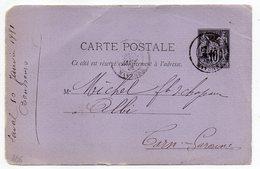 1881 - Entier Carte Postale SAGE 10c Noir- Cachets  LAVAL -- Mayenne  - Albi - Tarn - Entiers Postaux