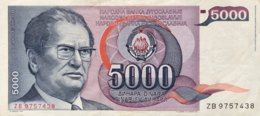 Yugoslavia 5.000 Dinara, P-93r (1985) - Replacement Note - (VF) - Yugoslavia