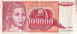 Yugoslavia 100.000 Dinara, P-97r (1988) - Replacement Note - (VF) - Yugoslavia