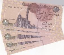 EGYPT 1 EGP 2003 P-50 SIG/OQDA  #21a WITHDRAWN . LOT X 5 UNC NOTES - Egypt