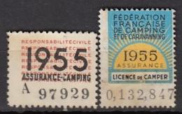 VIGNETTES LICENCE DE CAMPER 1955 + ASSURANCE CAMPING - Commemorative Labels