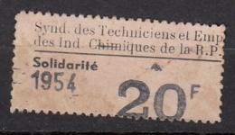 VIGNETTE SYNDICAT DES TECHNICIENS ET EMPLOYES DES INDUSTRIES CHIMIQUES  - TIMBRE DE SOLIDARITE 1954 - Unclassified