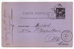 1882 - Entier Carte Postale SAGE 10c Noir- Cachets  LYON LES TERREAUX -- Rhône  - Albi - Tarn - Entiers Postaux