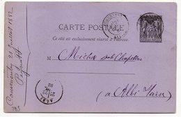 1882 - Entier Carte Postale SAGE 10c Noir- Cachets  COMMENTRY - Allier  - Albi - Tarn - Entiers Postaux