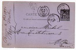 1880 - Entier Carte Postale SAGE 10c Noir- Cachets  BOURGES - Cher  - Albi - Tarn - Entiers Postaux