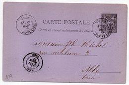 1883 - Entier Carte Postale SAGE 10c Noir- Cachets PREUILLY - Indre Et Loire--ALBI - Tarn - Entiers Postaux