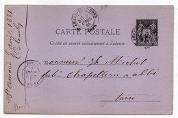 1881 - Entier Carte Postale SAGE 10c Noir- Cachets  SAINT AMAND MONTROND - Cher --ALBI - Tarn - Entiers Postaux