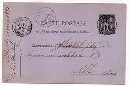1881 - Entier Carte Postale SAGE 10c Noir- Cachets  PREUILLY--Indre Et Loire  - Cher --ALBI - Tarn - Entiers Postaux