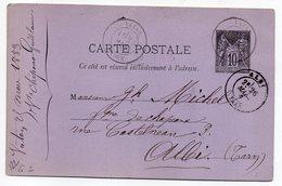 1883 - Entier Carte Postale SAGE 10c Noir- Cachets  VATAN - Indre --ALBI - Tarn - Entiers Postaux