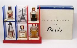 """Rare Ancien Coffret De 5 Miniatures De Parfum """"Les Parfums De Paris"""" Lelong  Coty  Fath  Cheramy  Bienaimé - Années 1970 - Perfume Miniatures"""