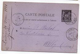 1881-- Entier Carte Postale SAGE 10c Noir- Cachets  LOUDEAC -- Cotes Du Nord  --ALBI - Tarn - Entiers Postaux