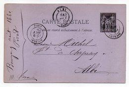 1880-- Entier Carte Postale SAGE 10c Noir- Cachets  BOURGES--Cher  --ALBI - Tarn - Entiers Postaux