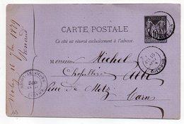 1879-- Entier Carte Postale SAGE 10c Noir- Cachets  NOLAY--21--CHAGNY-71  --ALBI - Tarn - Entiers Postaux