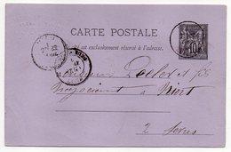 1884-- Entier Carte Postale SAGE 10c Noir- Cachets JARNAC-16--Ets Leclerc-- NIORT  - Deux-Sèvres - Entiers Postaux