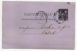 """1879-entier Carte Postale SAGE 10c Noir-cachet """"Montrejeau à Toulouse""""--Leclerc-- NIORT  - Deux-Sèvres - Entiers Postaux"""
