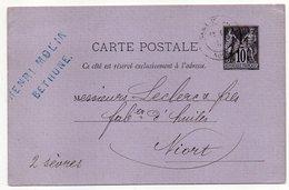 """1880-entier Carte Postale SAGE 10c Noir-cachet """"Gare De LILLE""""-BETHUNE---Leclerc-- NIORT  - Deux-Sèvres - Entiers Postaux"""
