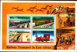"72562) FRANCOBOLLI STAMPS TANZANIA 1976 ""TRENI / TRAINS"" MNH** BLOCK (C.7) - Tanzania (1964-...)"