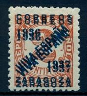 LOCALES PATRIÓTICOS , ZARAGOZA , ED. 27 HH  * , DOBLE SOBRECARGA - Emissions Nationalistes