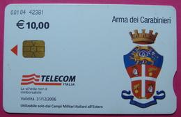 3 Edition KFOR-NATO Kosovo Italian Army In IRAQ CHIP Phonecard, 10 Euro. TELECOM ITALIA, *DOCTOR, Arma Dei Carabinieri* - Irak
