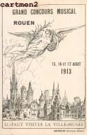 ROUEN GRAND CONCOURS MUSICAL 1913 ILLUSTRATEUR EDITEUR GIRIEUD AFFICHE PUBLICITE ENVOI A DOLBAU MUSICIEN LYON - Rouen