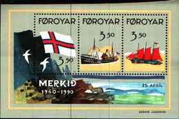 72571) FOROYAR 1990 - 50° BANDIERA DELLE FOROYAR - K. 10,50 - FOGLIETTO MNH** - Isole Faroer