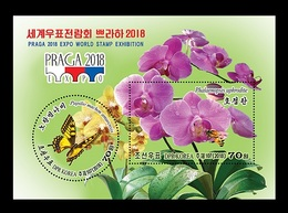 North Korea 2018 Mih. 6498/99 (Bl.986) Fauna And Flora. Butterfly And Orchid (3D-stereo) MNH ** - Corea Del Norte