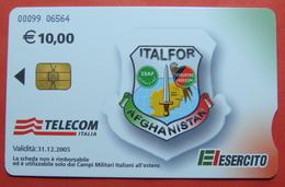 KFOR-NATO Kosovo Italian Army In AFGHANISTAN CHIP Phonecard, 10 Euro. TELECOM Italia, *ITALFOR* # 00099 06564 RRRRRR - Afghanistan