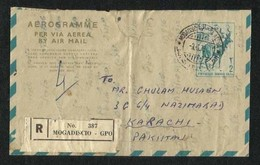 Somalia 1973 Registered Air Mail Postal Used Aerogramme Cover Somalia To Pakistan - Somalie (1960-...)